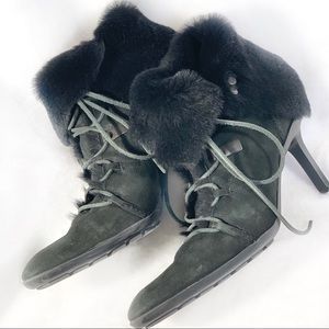 Gucci suede fur lace up boots size 37